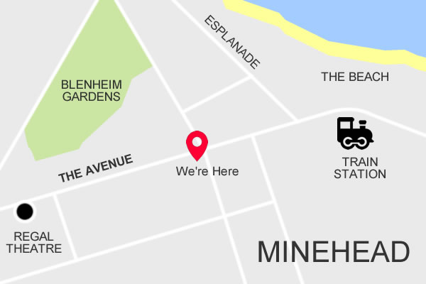 Location map of Stones Hotel & Bar in Minehead
